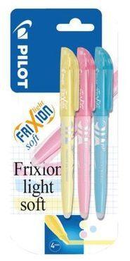 Afbeelding van Blauwe Pilot Frixion markeerstift set van 3 soft pastel blauw, geel, pink