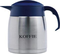 Isoleerkan EasyClean 1,2 liter rvs met opschrift KOFFIE en blauw kunststof dop en handgreep