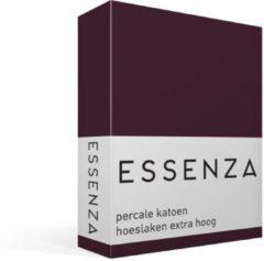 Bordeauxrode Essenza Premium - Percale Katoen - Hoeslaken - Extra Hoog - Eenpersoons - 100x200 cm - Burgundy