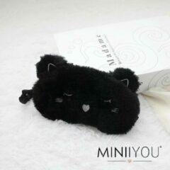 MINIIYOU® Zwarte kat kinder slaapmasker - reismasker vanaf 5 jaar | Reismasker kind | Slaapmasker kind meisje | Pluche Polyester | kinderen accessoires | Goede nachtrust