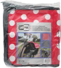 Merkloos / Sans marque Dubbele fietstas zwart en rood met witte stippen - 32 liter - 35 x 33 x 15 cm - stevige en ruime fietstassen - fietsbagage / fiets boodschappentas