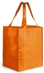Merkloos / Sans marque Boodschappen tas/shopper oranje 38 cm - Stevige boodschappentassen/shopper bag