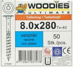 Woodies-ultimate Woodies tellerkopschroeven 8.0x280 verzinkt T-40 deeldraad 50 stuks