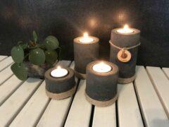 Antraciet-grijze Moederdag - moederdag cadeautje - geschenkset - El Beton Vuur & Natuur Cilindro 4 stuks - kaarsenhouder - wachinelichthouder - kaarsen - beton - touw - sfeerlicht - kaarsen - wachinelichtjes - zwart - antraciet - handmade - kleurpigment