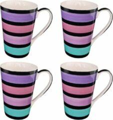 DeSfeerbrenger Mok - Beker - Set van 4 stuks mokken/bekers - Keramiek - 100% hand painted - Paars/roze/turquoise - 350 ml