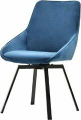 Maison Woonstore Maison´s stoel – Stoel – Stoelen – Eetkamerstoel – Eetkamerstoelen – Kuipstoel – Kuipstoelen – Blauw – Zwarte poten – Draaiende stoel – Eetkamerstoelen set van 2