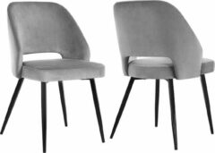 Grijze Nancy's Eetkamerstoel Set Van 2 - Moderne en Elegante Vrijetijdsstoel - Set Van 2 Eetkamerstoelen - 51 x 55 x 82 cm