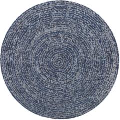 Beliani Vloerkleed katoen donker-blauw jeans-look rond 140 cm. BULUCA