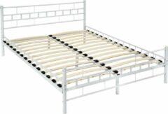 Witte Tectake Bedframe metalen bed frame met lattenbodem 200*140 cm 401721