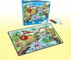 FDBW Puzzel Kleurplaat – 24 stukjes – Jungle | Puzzel Kleuren – 65x90 cm |Kinderpuzzel – Dieren| Legpuzzel 24 stukjes| Kleurpuzzels voor Kinderen