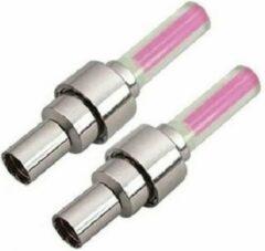 Luux Fietswielverlichting firefly ventiel LED lampjes roze 2 stuks