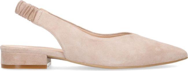 Afbeelding van Manfield - Dames - Beige suède loafers met slingback - Maat 38