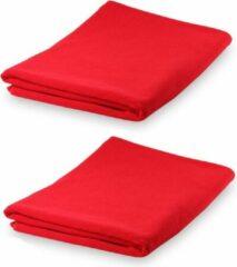 Merkloos / Sans marque Set van 2x stuks rode yoga of fitness microvezel handdoeken 150 x 75 cm - ultra absorberend - super zacht