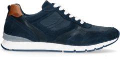 No Stress - Heren - Blauwe sneakers met bruine details - Maat 44