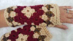 Merkloos / Sans marque Handgemaakte dames vingerloze bordeauxrood beige bruin handschoenen . Maat one size