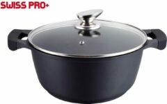 Swiss Pro+ Braadpan - met glazen deksel - Zwart - 20 cm - Antiaanbaklaag