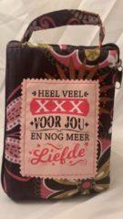 History&heraldy Shopper bag dames met leuke tekst HEEL VEEL XXX VOOR JOU EN NOG MEER LIEFDE winkeltasje Wordt geleverd in cellofaan met linten
