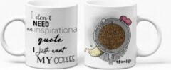 "Bruine The Mokken Boutique - Gepersonaliseerde mok voor Moederdag - unieke mok ""I don't need an inspirational quote, I just want my coffee"""