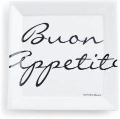 Witte Riviera Maison Rivièra Maison Buon Appetito Square Plate - Dinerbord - 22 x 22 cm - Wit