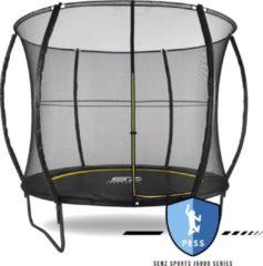 Trampoline - Senz Sports J5000 Series - 244 cm - Zwart - trampoline met elastieken