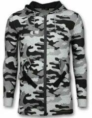 Enos Casual Vest - Long Fit Camouflage Vest - Grijs Vesten Heren Sweater Maat M