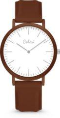 Colori Essentials 5 COL589 Horloge - Siliconen Band - Ø 40 mm - Donker Bruin