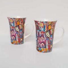 Paarse Alperstein Designs Designmokken - Judy Napangardi Watson - Aboriginal collectie - set van 2