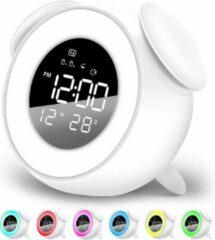 FettleLife Retro Digitale Wekker met Wake Up Light - Wekker voor in de Slaapkamer - Wekker Met Alarm en LED lamp (Wit)