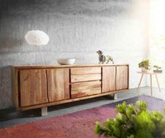 DELIFE TV-kastje Live-Edge Acacia natuur 200 cm 4 deuren 2 laden boomrand TV-meubel