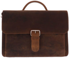Rode Plevier-Crossbodytassen-Darwin Leren Old School Bag-Bruin