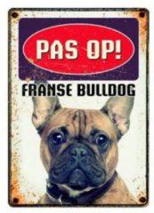Witte Plenty gifts waakbord blik franse bulldog 15x21 cm