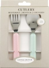Little Dutch 4920 Toddler cutlery set Mint colour, Roze Melamine, Roestvrijstaal peuterbestek