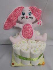 Roze Sabinesgeschenkenshop.be 1 laag pampertaart bunny roos