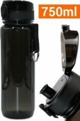 Drinkfles Herbruikbare Waterfles | 750 ml Zwart | Vaatwasserbestendig Drinkbus Bidon | King Mungo KMDF013