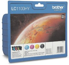 Brother Cartridge multipack LC-1100HYBK, HYC, HYM, HYY Zwart, Cyaan, Magenta, Geel