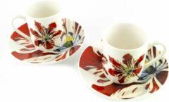 Rode Lanzfeld (museumwebshop.com) Espresso set, Tulpen, Rijksmuseum