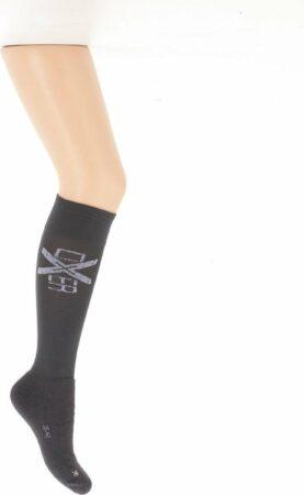 Afbeelding van Antraciet-grijze Oxer Socks Unisex Ruitersokken Maat 36-42