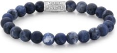 Rebel & Rose Rebel and Rose RR-80022-S Rekarmband Beads Matt Midnight zilverkleurig-blauw 8 mm L 19 cm