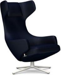 Vitra Grand Repos Sessel - Sitzhöhe 41 cm - Untergestell soft light pulverbeschichtet - Cosy Kreuzstichnaht nachtblau