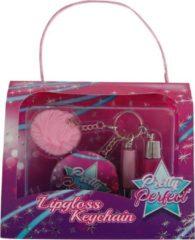 Massamarkt Pompom sleutelhanger 2x lipgloss+spiegel
