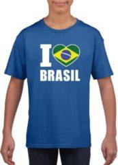 Blauwe Shoppartners Blauw I love Brazilie supporter shirt kinderen - Braziliaans shirt jongens en meisjes M (134-140)