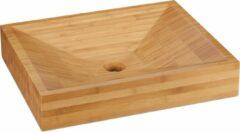 Naturelkleurige Relaxdays wastafel bamboe - 9,5 x 52 x 43 cm - opzetwastafel - opzetwasbak - rechthoek