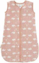 Roze Fresk slaapzak muslin 2-laags mellow rose Whale wit