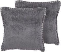 Beliani MELUR Sierkussen set van 2 Viscose 45 x 45 cm