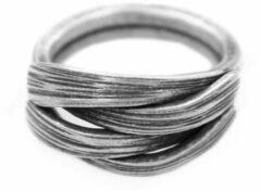 Lazy Cat Zilveren Ring – Bamboebladeren - Thais Zilver - Vintage - 18mm