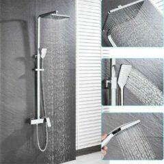 Merkloos / Sans marque Productgigant - RVS Doucheset mengkraan - Doucheset met badkraan - incl. handdouche - Regendouche - stortdouche - Chrome - vierkant