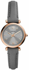 Fossil ES5068 Horloge Carlie Mini staal-leder rosekleurig-grijs 28 mm