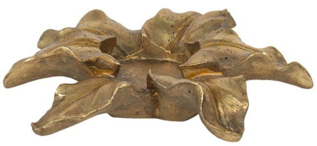 Afbeelding van Clayre & Eef Theelichthouder Bloem 6PR2839 Ø 22*6 cm - Goudkleurig Kunststof Waxinelichthouder Windlichthouder