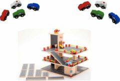 Jouéco Garage met 8 extra houten auto,s