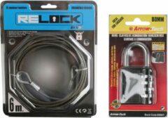 Merkloos / Sans marque Staalkabel PVC coated 6 m met stalen hangslot / cijferslot zwart 80 mm - fietsslot / kabelslot